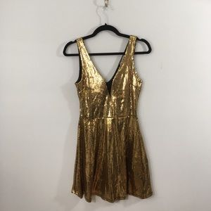 Charlotte Russe Gold Sequin Party Dress
